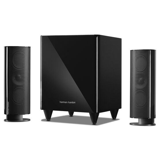 HKTS 200 - Black - A 2.1-channel home theater speaker system with powered subwoofer - Hero
