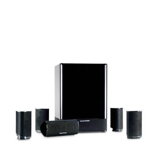 HKTS 15 - Black - 5.1 Home Theater Speaker System (4 Satellites, 1 Center, and a 10 inch 100-Watt Powered Subwoofer) (CEN TS15,SAT TS15,SUB TS15) - Hero